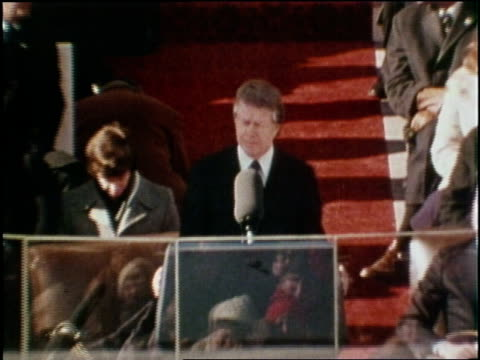 vídeos y material grabado en eventos de stock de us democratic president jimmy carter says this inauguration ceremony marks a new beginning a new dedication within our government and a new spirit... - 1977