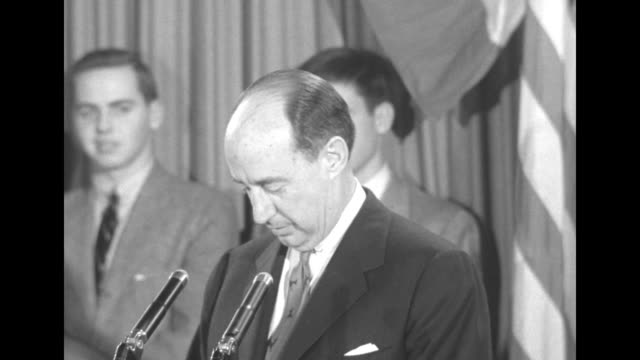 cu democratic presidential candidate adlai stevenson at podium of illinois democratic headquarters at the leland hotel says someone asked me as i... - adlai stevenson ii stock videos and b-roll footage