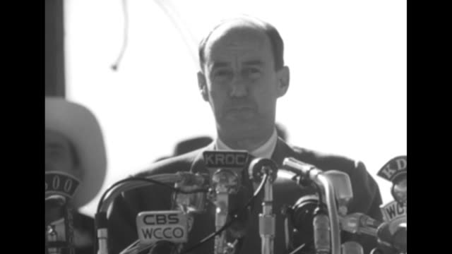 democratic presidential candidate adlai stevenson at podium with microphones with men wearing cowboy hats / he addresses farm policy noting content... - adlai stevenson ii stock videos and b-roll footage