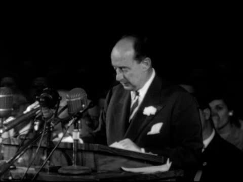 s democratic presidential candidate adlai stevenson ii at podium speaking about spending less taxing less federal budget national security campaign... - adlai stevenson ii stock videos and b-roll footage