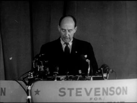 democratic presidential candidate adlai stevenson ii at podium speaking about government policies dealing w/ inflation, socialism. campaign, speech,... - socialism stock videos & royalty-free footage