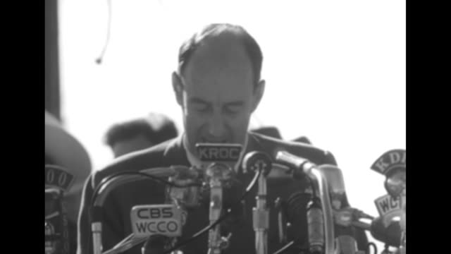 sot democratic presidential candidate adlai stevenson speaks about family farm ownership references running mate john sparkman's agricultural... - adlai stevenson ii stock videos and b-roll footage