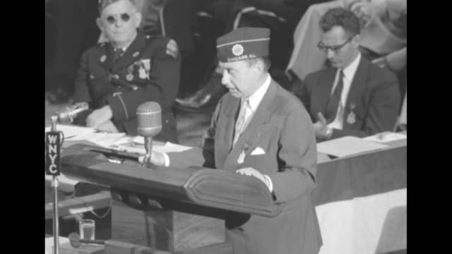 vs democratic presidential candidate adlai stevenson standing at podium in madison square garden speaking - adlai stevenson ii stock videos and b-roll footage