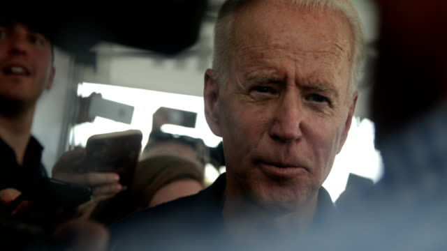 democratic presidential candidate and former u.s. vice president joseph biden is surrounded by members of the media after he delivered a campaign... - political rally stock videos & royalty-free footage