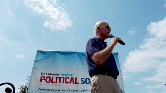 democratic presidential candidate and former vice president joe biden delivers a 20-minute campaign speech at the des moines register political... - political rally stock videos & royalty-free footage