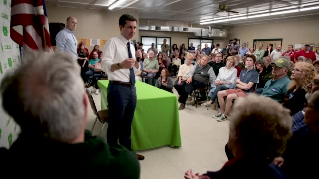 democratic presidential candidate and south bend indiana mayor pete buttigieg hosts a town hall meeting at the lions den on april 15 2019 in fort... - town hall meeting stock videos and b-roll footage