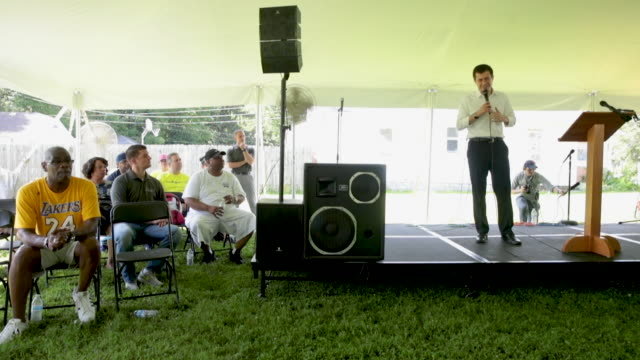 democratic presidential candidate and south bend, indiana mayor pete buttigieg speaks at a community building event hosted by christ temple apostolic... - south bend indiana stock videos & royalty-free footage