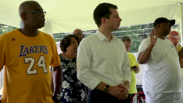 democratic presidential candidate and south bend, indiana mayor pete buttigieg attends a community building event hosted by christ temple apostolic... - south bend indiana stock videos & royalty-free footage