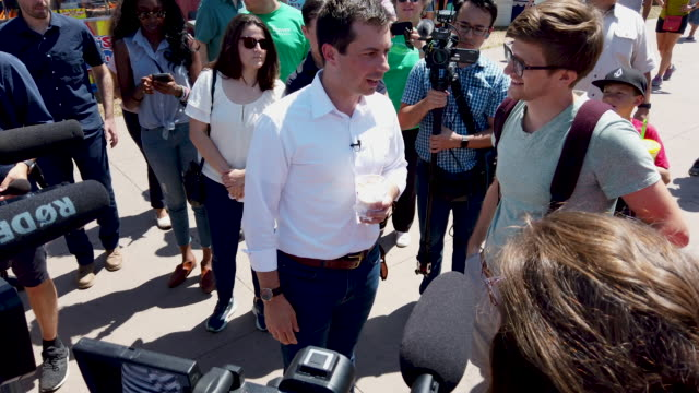 democratic presidential candidate and south bend indiana mayor pete buttigieg drink s a root beer float greets fairgoers and talks with journalists... - presidential candidate stock videos & royalty-free footage