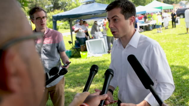 democratic presidential candidate and south bend, indianamayor pete buttigieg speaks to the press before leaving a community building event hosted by... - south bend indiana stock videos & royalty-free footage