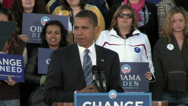 stockvideo's en b-roll-footage met democratic presidential candidate barack obama making campaign speech about healthcare reform on october 22 2008 / leesburg virginia united states /... - 2008