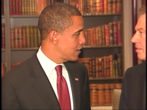 democratic presidential candidate, barack obama, meets with former british prime minister tony blair during a stop in london, england during his... - (war or terrorism or election or government or illness or news event or speech or politics or politician or conflict or military or extreme weather or business or economy) and not usa stock videos & royalty-free footage