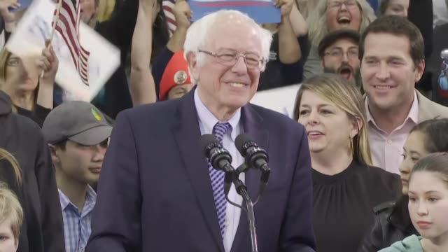 democratic presidential candidate bernie sanders thanks new hampshire for a great victory as us networks project he will win the state's primary... - sander stock videos & royalty-free footage