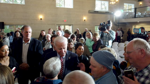 democratic presidential candidate former vice president joe biden greets guests during a campaign stop at the small grand things event center on... - presidential candidate stock videos & royalty-free footage