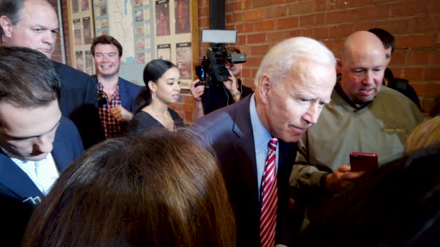 democratic presidential candidate former vice president joe biden greets guests during a campaign stop at the small grand things event center on... - election stock videos & royalty-free footage