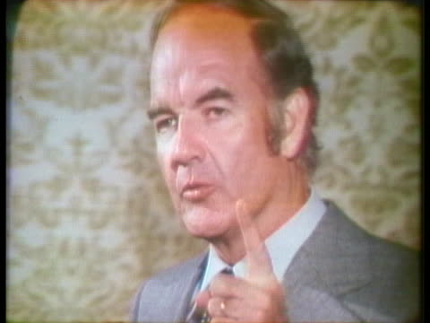 democratic presidential candidate george mcgovern criticizes president richard nixon and tells the american people not to buy into his vietnam peace... - 1972 stock videos & royalty-free footage