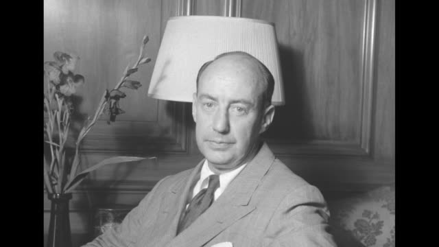 democratic presidential candidate gov adlai stevenson poses in a paneled room - adlai stevenson ii stock videos and b-roll footage