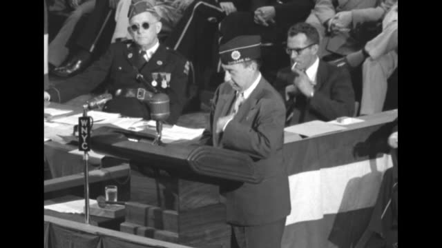 vs democratic presidential candidate gov adlai stevenson standing at podium in madison square garden during his speech to the american legion... - adlai stevenson ii stock videos and b-roll footage