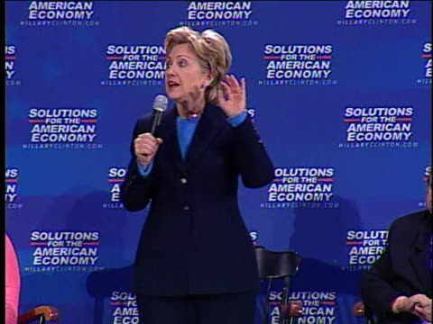us democratic presidential candidate hillary clinton discusses international importexport policies - business or economy or employment and labor or financial market or finance or agriculture stock videos & royalty-free footage