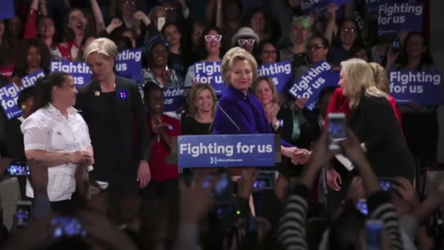 democratic presidential candidate hillary clinton speaks during a get out the vote rally on april 17 2016 in new york city the democratic and... - 2016 stock videos & royalty-free footage