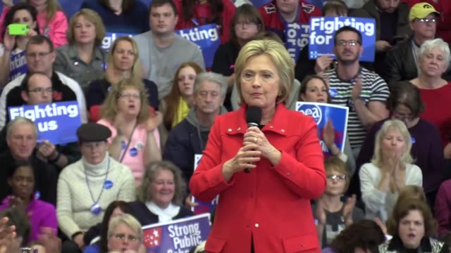 Democratic Presidential Candidate Hillary Clinton speaks during a campaign rally at ​Washington High School in Cedar Rapids Iowa USA on January 30...
