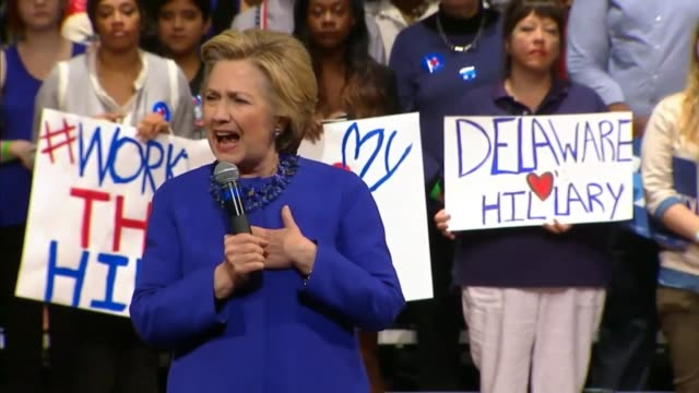 democratic presidential candidate hillary clinton tells an audience in wilmington, delaware, that she feels so passionate about taking on the gun... - other stock videos & royalty-free footage