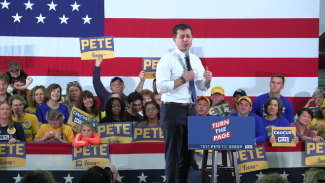 democratic presidential candidate pete buttigieg speaks to supporters at des moines lincoln high school on sunday, feb. 2 in des moines, iowa. rough... - presidential candidate stock videos & royalty-free footage