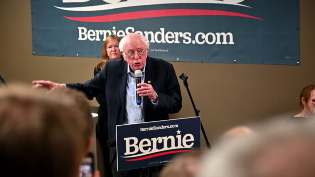 democratic presidential candidate sen bernie sanders speaks during a stop at a campaign field office on february 02 2020 in west newton iowa iowa's... - presidential election stock videos & royalty-free footage