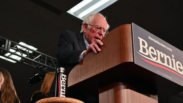 democratic presidential candidate sen. bernie sanders speaks during an election night party on february 3, 2020 in des moines, iowa. footage by... - political rally stock videos & royalty-free footage