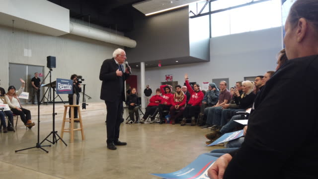 democratic presidential candidate sen. bernie sanders speaks to guests during a campaign stop at berg middle school on january 11, 2020 in newton,... - candidate stock videos & royalty-free footage