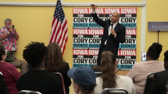 democratic presidential candidate sen cory booker speaks to guests during a black caucus reception hosted by the iowa democratic party at the polk... - formal reception stock videos and b-roll footage
