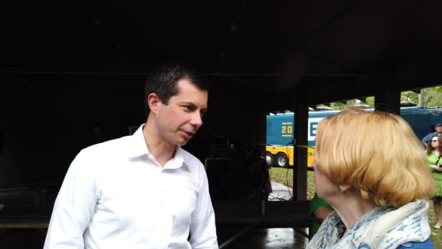 democratic presidential candidate south bend indiana mayor pete buttigieg speaks to guests during a campaign stop at twins park on september 22 2019... - candidate stock videos & royalty-free footage