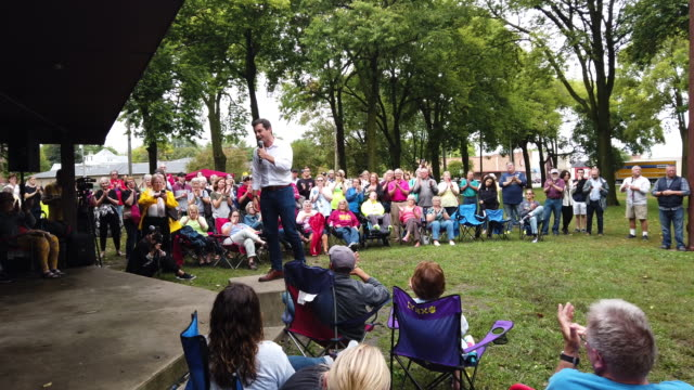 democratic presidential candidate, south bend, indiana mayor pete buttigieg speaks to guests during a campaign stop at twins park on september 22,... - south bend indiana stock videos & royalty-free footage