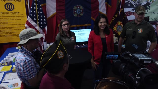 democratic presidential candidate us rep tulsi gabbad greets members of veterans of foreign wars after she delivered campaign speech at the des... - veterans of foreign wars of the united states stock videos & royalty-free footage