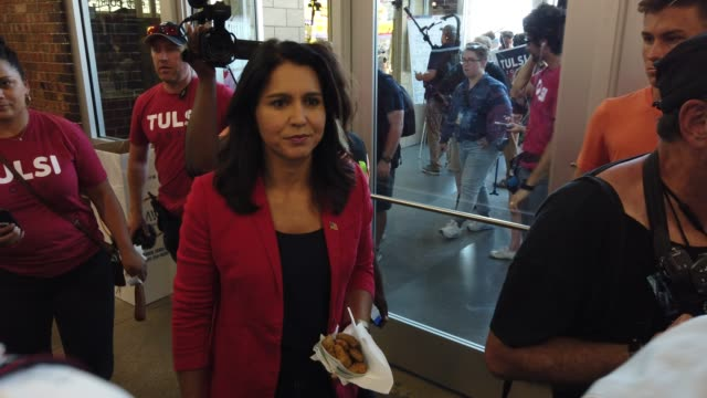 democratic presidential candidate us rep tulsi gabbad greets voters after she delivered campaign speech at the des moines register political soapbox... - candidate stock videos & royalty-free footage