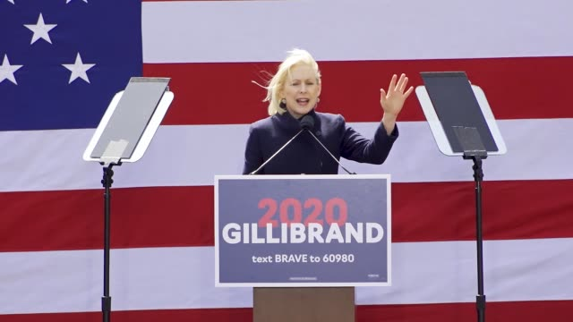 Democratic presidential candidate US Sen Kirsten Gillibrand held kickoff rally at Columbus Circle adjacent to the Trump International Hotel Tower New...