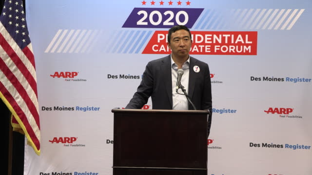democratic presidential hopeful andrew yang answers a question about antifa during a press gaggle after speaking during the aarp 2020 presidential... - candidate stock videos & royalty-free footage
