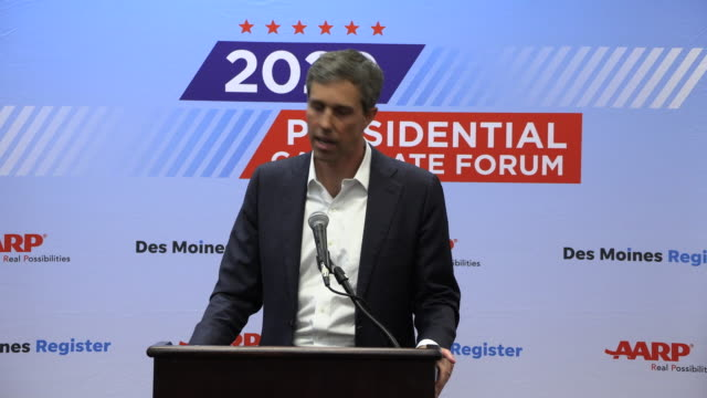 democratic presidential hopeful beto o'rourke answers a question about his fundraising numbers during a press gaggle after speaking during the aarp... - candidate stock videos & royalty-free footage