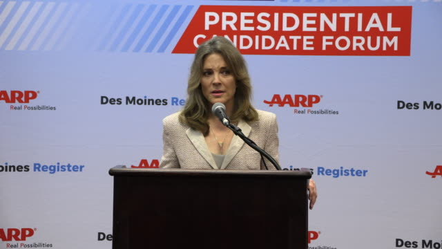 democratic presidential hopeful marianne williamson answers a question about social security during a press gaggle after speaking during the aarp... - social security stock videos & royalty-free footage