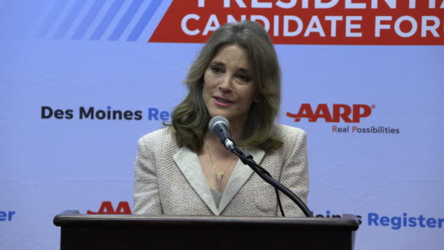 democratic presidential hopeful marianne williamson answers a question about continuing her campaign if she's not in the next debate during a press... - candidate stock videos & royalty-free footage