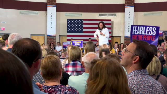 democratic presidential hopeful us sen kamala harris speaks during a for the people rally at valley southwood freshman high school campaign stop at... - candidate stock videos & royalty-free footage