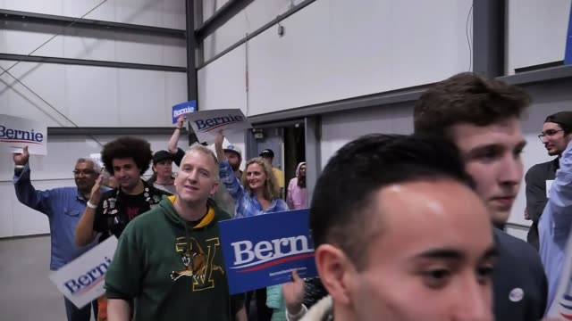joe biden is front runner following super tuesday usa vermont burlington sequence of bernie sanders supporters at after rally holding signs vox pop - vermont stock videos & royalty-free footage