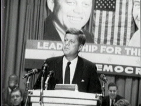democratic presidential nominee john f. kennedy jokes about his age during a speech. - nominee stock videos & royalty-free footage