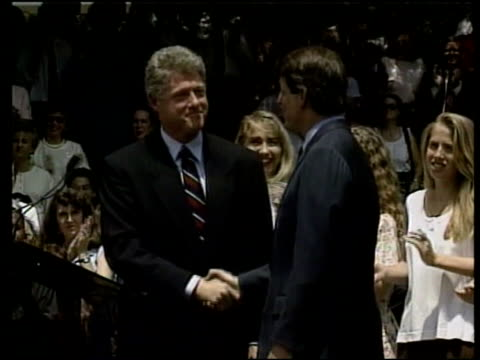 democratic race for president lib president bill clinton and vicepresident al gore on platform gore gore and clinton on platform - gore stock videos and b-roll footage