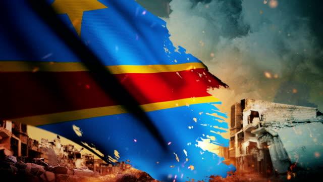 4k democratic republic of the congo flag - crisis / war / fire (loop) - democratic republic of the congo stock videos & royalty-free footage