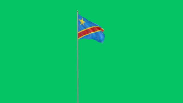 democratic republic of the congo flag rising