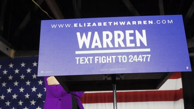 democratic senator and 2020 presidential candidate elizabeth warren speaks in long island city in the borough of queens new york city usa senator... - 2020 business stock videos and b-roll footage
