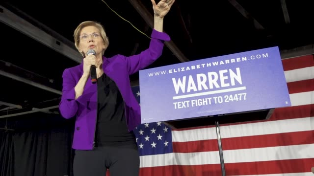 democratic senator and 2020 presidential candidate elizabeth warren speaks in long island city in the borough of queens new york city usa senator... - candidate stock videos & royalty-free footage