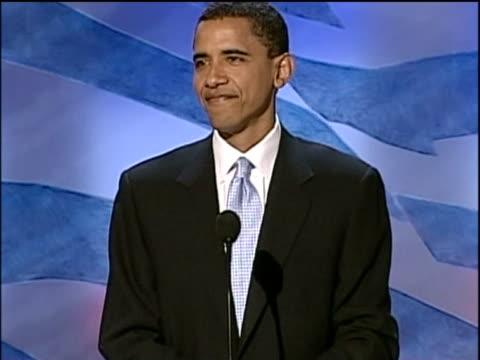 democratic senator candidate barack obama gets lively reaction at democratic national convention - 2004 stock-videos und b-roll-filmmaterial