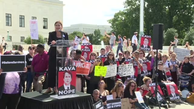 democratic senators and prominent activists join a protest outside the us supreme court as the senate judiciary committee votes on moving brett... - alyssa milano stock videos & royalty-free footage